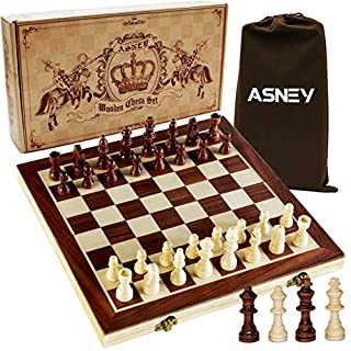 """ASNEY Upgraded Magnetic Chess Set, 15"""" Tournament Staunton Wooden Chess Board Game Set with Crafted Chesspiece & Storage Slots for Kids Adult, Includes Extra Kings Queens & Carry Bag"""