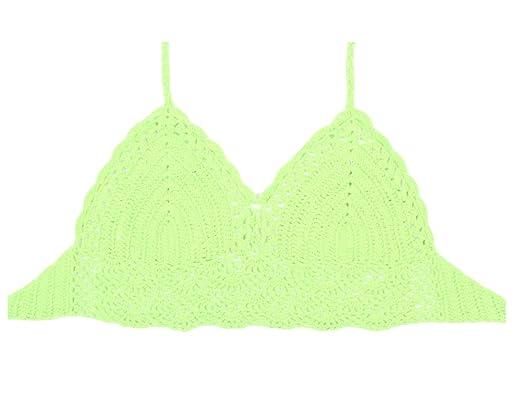 Femme Tankini Bikini Haut de Maillot de Bain Dentelle Crochet Bikini Boho Crop Top 4Abricot exclusif xHFfMm