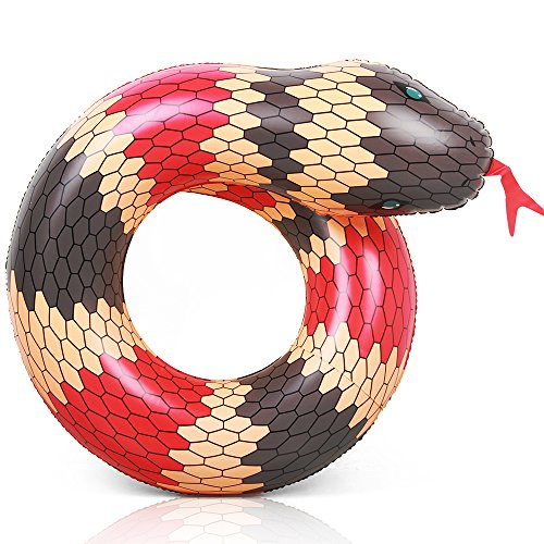 Coogam 40'' 3D Snake Swim Ring Inflatable Pool Float Color Rubber Open-Loop Inner Tube Water Donut Rafts Foam Innertube Toy for Adults Kids Summer Outdoor Beach Playing Decoration (Red)