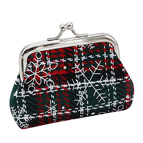 Women Lady Christmas Vintage Floral Small Wallet Hasp Purse Plaid Clutch Bag Gift Retro Buckle Pouch Change Purse (9cmX7cm/3.55
