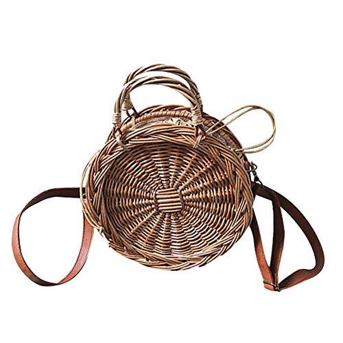 Bolso Verano Vintage Totalizador Retro Tejer y Bolsos Playa Hombro Mujeres Ratán Ronda Paja Wheel Crossbody de Bolsa UZqfwZHE4
