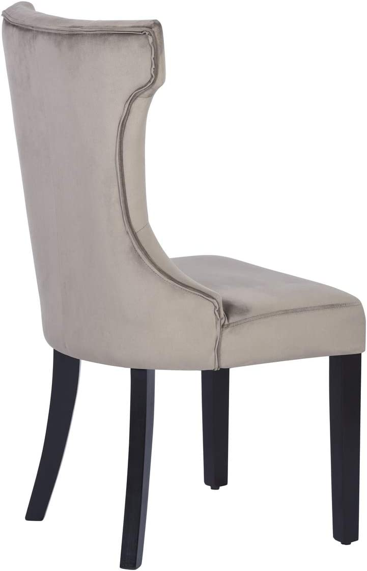Set of 2 Dining Chairs Armless High Back Pholstered Fabric Button Tufted Blue