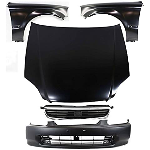 Diften 114-C0653-X01 - Left & Right Fender Set + Front Bumper Cover + Grille Assy + Hood Body Kit (1996 Honda Civic Hood Cover)