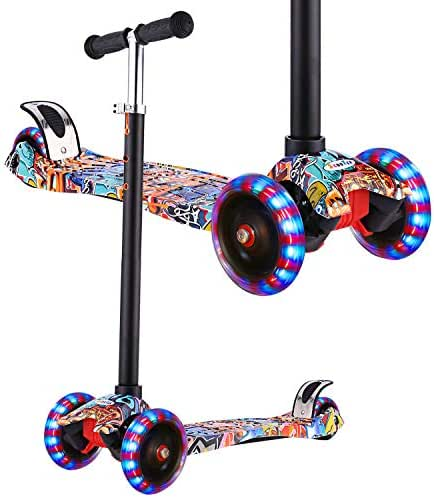 Hikole Scooter for Kids, Kick Scooter for Toddlers Girls & Boys with LED Light Up Wheels, Adjustable Height Scooter for Children from 3 to 12 Years Old
