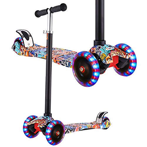 Hikole Kids Scooter - Adjustable, 3 Wheel Mini Adjustable Kick Scooter with LED Light Up Wheels, Gifts for Girls Boys Age 3 to 12, Support 100Lbs