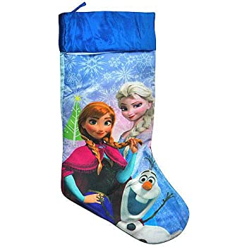 Amazon.com: Disney Frozen Merry Christmas Stocking Blue Satin with ...