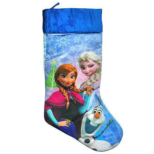 Disney Frozen Merry Christmas Stocking Blue Satin with White Fur 18