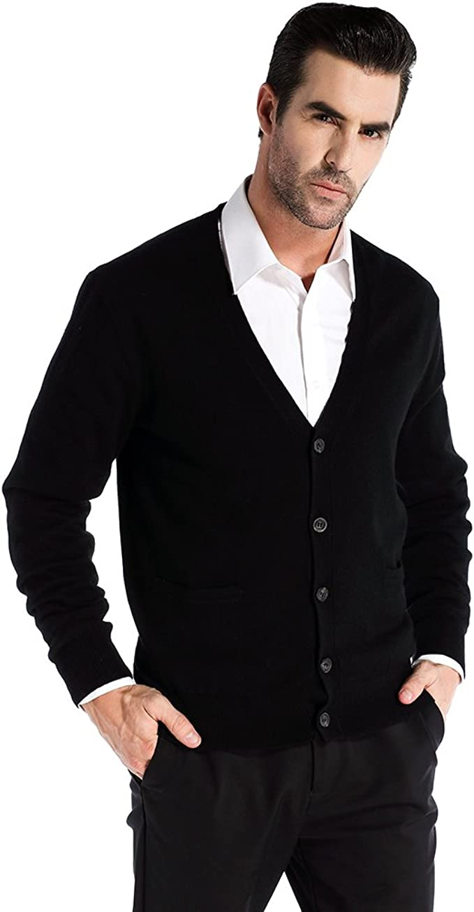 Kallspin Men's Cashmere Wool Blended Cardigan Sweater Relax Fit V Neck Knitted Sweaters with Buttons & Pockets