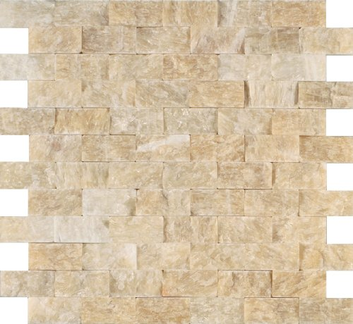 - Arizona Tile ST-306 Sterling 12 by 12-Inch Stone Mosaic, Honey Onyx Split Face, 3-Pack