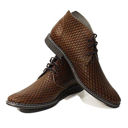 PeppeShoes Modello Roberto - 9 US - Handmade Italian Mens Brown Ankle Chukka Boots - Cowhide Embossed Leather - Lace-up (Italian Handmade Brown Leather Boots)