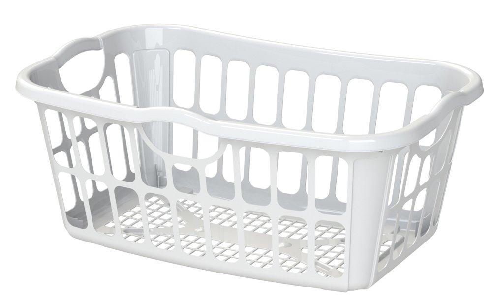 United Solutions LN0308 1.25 Bushel White Laundry Basket with Pass Thru Handles, White