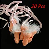 20 Pcs Novelty Pecker Whistle with Ribbon & Feather, Bachelorette Party Necklace