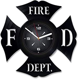 Fire Department Logo Vinyl Record Wall Clock. Decor for Bedroom, Living Room, Kids Room. Gift for Him or Her. Christmas, Birthday, Holiday, Housewarming Present.