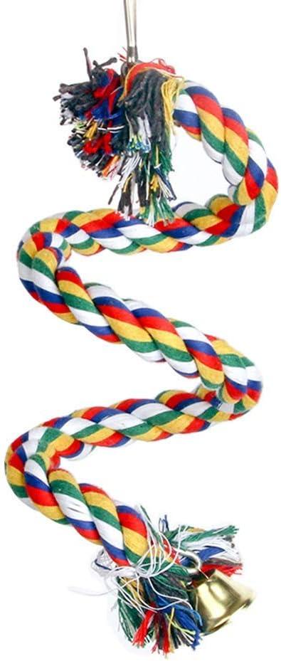Juguetes para periquitos/loros/cacatúas, cuerda elástica de juguete para pájaros, jaula de cuentas colorida natural, juguete para masticar loro en espiral