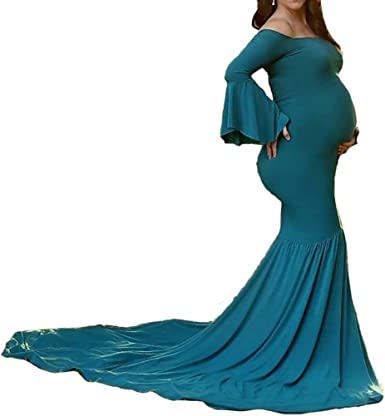 Hopeverl Women S Bell Sleeves Off Shoulder Photography Props Dress Mermaid Gown Long Dress For Baby Shower At Amazon Women S Clothing Store