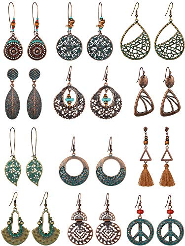 12 Pairs Bohemian Vintage Earrings Dangle Pendant Earrings Set Teardrop Earrings for Women (Style Set 2)