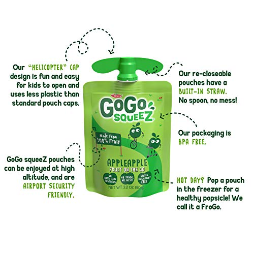 GoGo squeeZ Applesauce, Variety Pack (Apple/Banana/Mango), 3.2 Ounce (20 Pouches), Gluten Free, Vegan Friendly, Unsweetened Applesauce, Recloseable BPA Free Pouches
