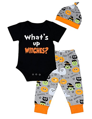 Baby Boy Halloween Outfits Funny Romper Short Sleeve with Hat and Pants Sets 3PC