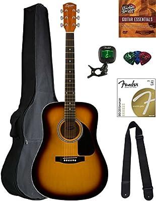 Fender Squier Dreadnought Acoustic Guitar - Sunburst Bundle with Gig Bag, Tuner, Strap, Strings, Picks, Austin Bazaar Instructional DVD, and Polishing Cloth
