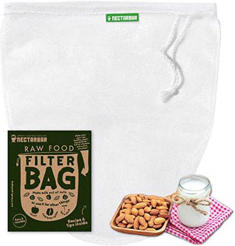 Filterbeutel NECTARBAR (Eco) - RAW FOOD FILTER BAG - NUSSMILCHBEUTEL - Mikrofeines Filtertuch für vegane Milchalternativen, Cold Brew Coffee, Sprossenbeutel, Sirup und Geleeherstellung, Reis und Quinoa Spülen, Kefir und Kombucha filtern, Joghurt / Quark / Tofu abseihen - als Passiertuch und Entsafter - ORIGINAL NECTARBAR - 100% pure Nylon, BPA-frei mit Anleitung und Garantie