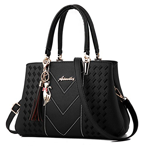 ALARION Womens Purses and Handbags Shoulder Bag Ladies Designer Satchel Messenger Tote (Designer Black Handbag)
