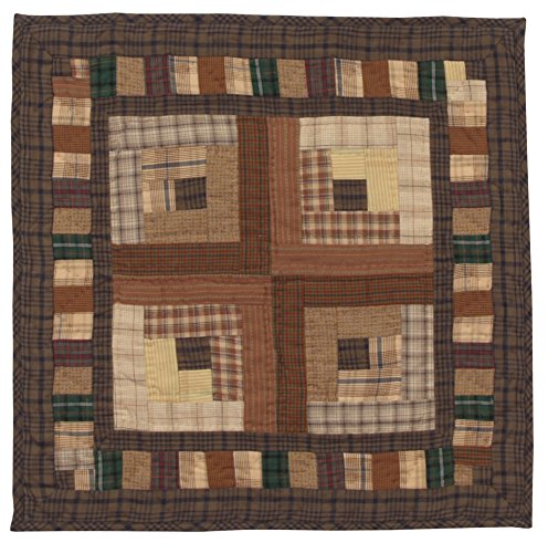 Country Log Cabin Wall Hanging Quilt 18 Inches by 18 Inches 100% Cotton Handmade Hand Quilted Heirloom Quality