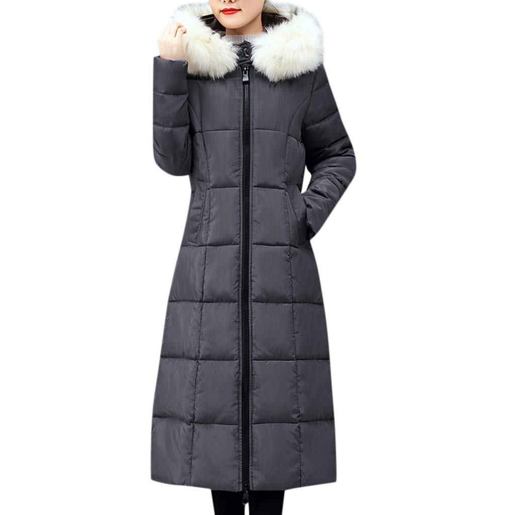 Wenini Women's Winter Slim Warm Cotton Padded Long Faux Fur Hooded Jacket Coat Outerwear by Wenini Women Coat