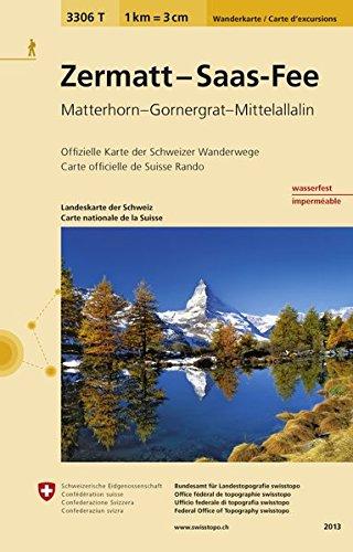 3306T Zermatt - Saas-Fee Wanderkarte: Matterhorn - Gornergrat - Mittelallalin (Wanderkarten 1:33 333)