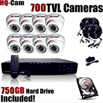 HQ-Cam® 8-Channel H.264 960H 1080P High Resolution DVR Surveillance Security Package System with 8 x 700 TV Lines Indoor/Outdoor Day Night Vision Cameras For Home Security with Power Suplies and Cables, Pre-Installed 750GB HDD; HDMI Port