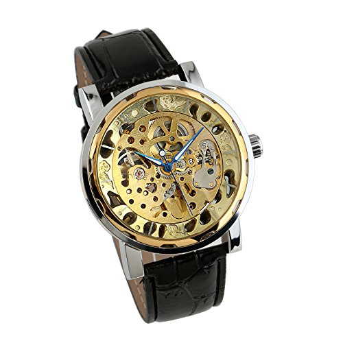 Mens Watch Mechanical Blue Hands Leather Strap Hand-Winding Date Display Luxury