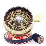 Image of Silent Mind ~ Antique Design Tibetan Singing Bowl Set ~ With Mallet & Silk Cushion ~ For Meditation, Chakra Healing, Prayer ,Yoga, and Mindfulness ~ Perfect Gift