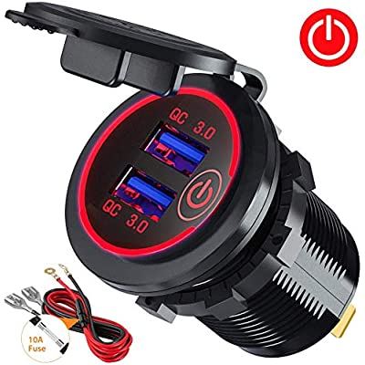 Quick Charge 3.0 Dual USB Car Charger Socket with Touch Switch 12V/24V 36W QC3.0 Dual USB Fast Charger Socket Power Outlet for Marine, Boat, Motorcycle, Truck, Golf Cart(Red): Home Audio & Theater