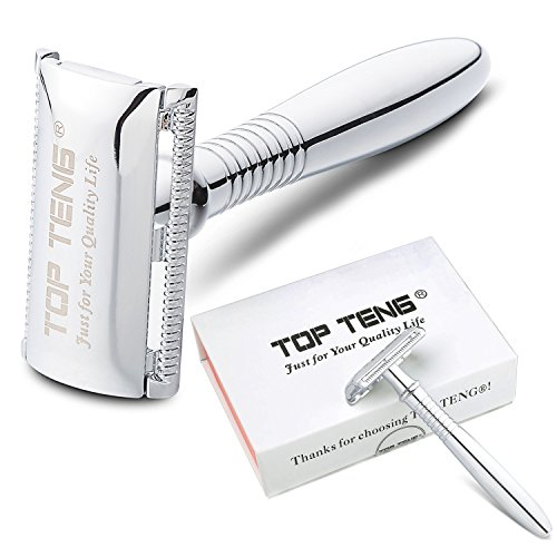 "TOP TENG® - 4.5"" Long Handled Safety Razor + 10 Platinum Chrome Super Sharp Double Edge Safety Razor Blades, 100% Pure Raw Manliness, Perfect for Women too!!!"
