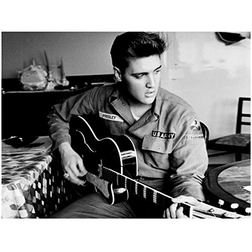 Elvis Presley Photo 8 inch x 10 inch PHOTOGRAPH Singer Jailhouse Rock Playing Guitar in U.S. Army Uniform kn