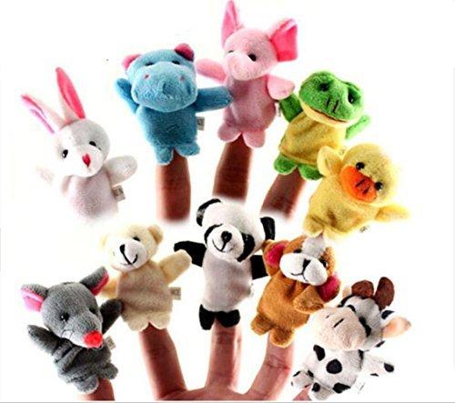 10 Cartoon Animal Finger Puppet Plush Toys - 5