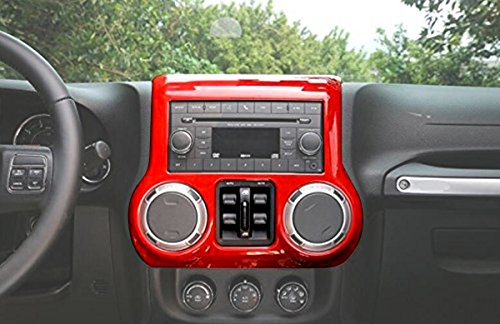 ICARS Red Interior Inner Center Console Cover Trim Accents Accessories for 2011 2012 2014 2013 2014 2015 2016 2017 Jeep Wrangler JK & Unlimited 1pc