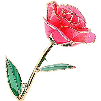 ZJchao Pink Gold Rose Valentines Gifts For Women Love Forever Long Stem Dipped 24k Foil Trim Herpink