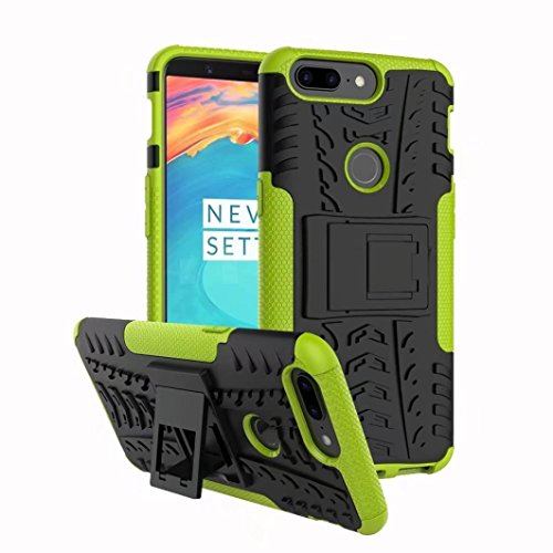 Price comparison product image DZT1968 Compact Hybrid Heavy anti-scratch Duty Stand PC+TPU Shockproof Case Cover For OnePlus 5T (green)