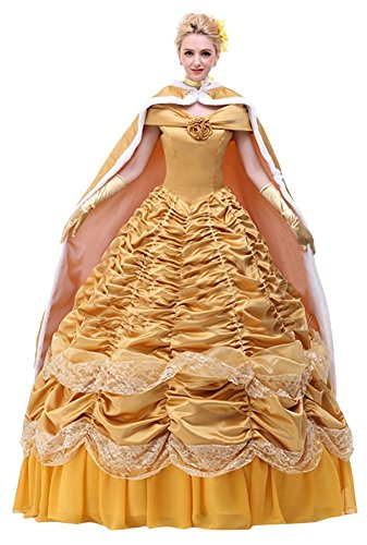 Ace Deluxe Adult Women's Beauty and the Beast Belle Costumes Custom Made Dress (L, Dress and Cape) (Custom Made Disney Princess Costumes)