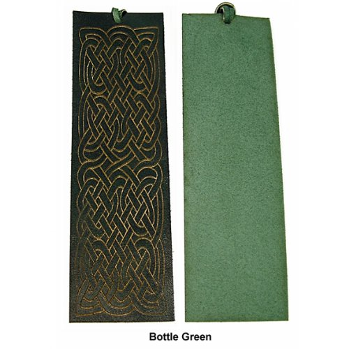 Quality Leather Bookmark - Celtic Maze - Bottle Green - Calf Leather The Pink Monkey Company Ltd BM004BG