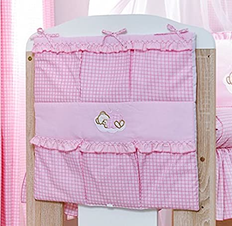Nursery Organizador Cuna para cuna o cuna cama – bordado rosa de oso durmiente