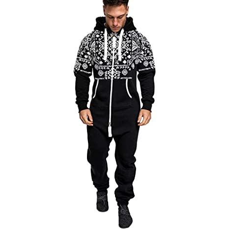 1819f7a8f8fb Amazon.com  EnjoCho Fashion Casual Mens Jumpsuits Hooded Long Sleeve  Pockets Trousers Christmas Zip Pants Long Sexy Jumpsuit (Size XXL