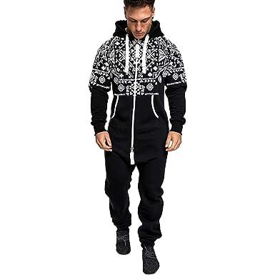 024351a8c Men Christmas Hoodies,Vanvler Male Print Jumpsuits Autumn Winter Casual  Suit Zipper Pockets (M
