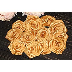 Gold Roses, Set of 10, Gold Wedding Decor, Bridal Flowers, Satin Fabric Flowers, Wedding Photo Props, Gold Party Decor, Shabby Chic, Fall Wedding, Golden Roses