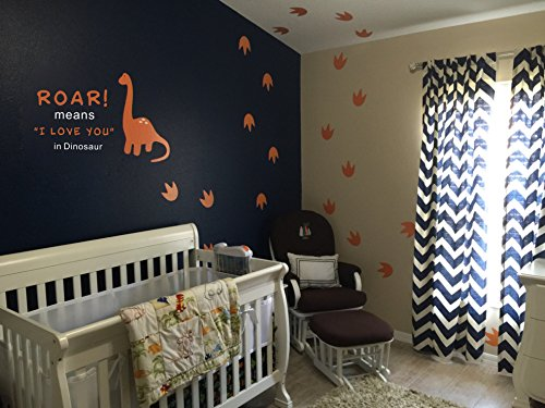 Dinosaur Wall Decal  Roar Means I Love You In Dinosaur With Footprints  Vinyl Stickers For Baby Boys  Kids Bedroom Wall Decor  Nursery Decoration  Quote Wall Decals A22   Orange  White