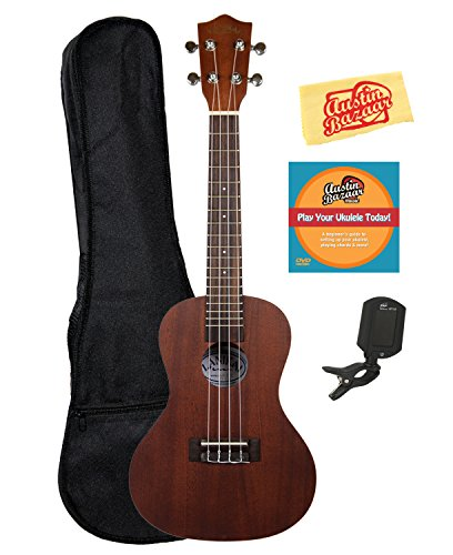 Lanikai LU-21C Concert Ukulele Bundle with Gig Bag, Clip-On Tuner, Austin Bazaar Instructional DVD, and Polishing Cloth