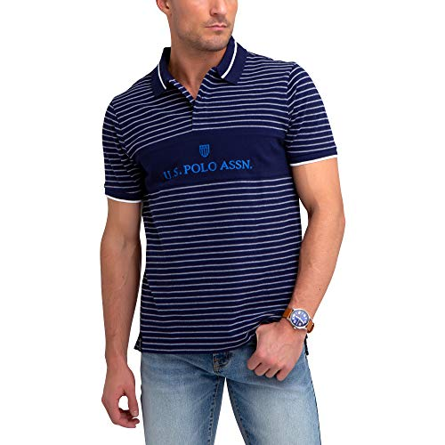 (U.S. Polo Assn. Mens Stripe Color Block Pique Polo Shirt - Classic Navy, Medium )