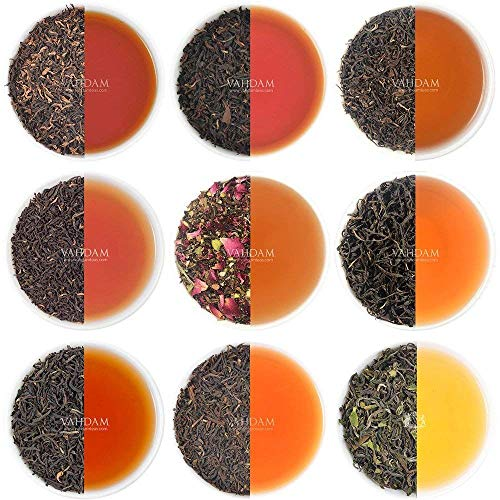 Black Tea Sampler - 10 TEAS, 50 Servings | 100% Natural Ingredients | High Caffeine, Healthy Coffee Replacement | Brew Hot, Iced, Kombucha Tea | Black Tea Loose Leaf | Tea Variety Pack & Tea Gift Set -