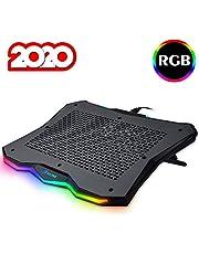 """KLIM™ Rainbow - Base de refrigeración para portátiles RGB + 11"""" a 17"""" + Refrigeración para portátil Gaming + Ventilador USB + Estable y Resistente Base de Aluminio + Gran compatibilidad + Nueva 2020"""