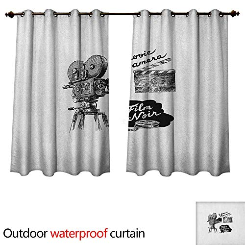 Movie Theater Outdoor Curtain for Patio Antique Movie Camera Hand Drawn Style Art Collection Film Noir Genre Theme W84 x L72(214cm x 183cm)